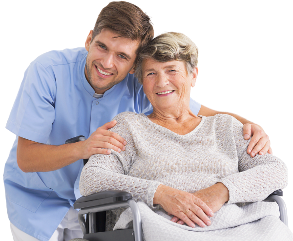 caregiver hugging an elder patient